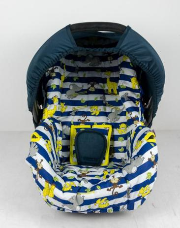 Imagem de Capa para bebe conforto - safari listrado azul