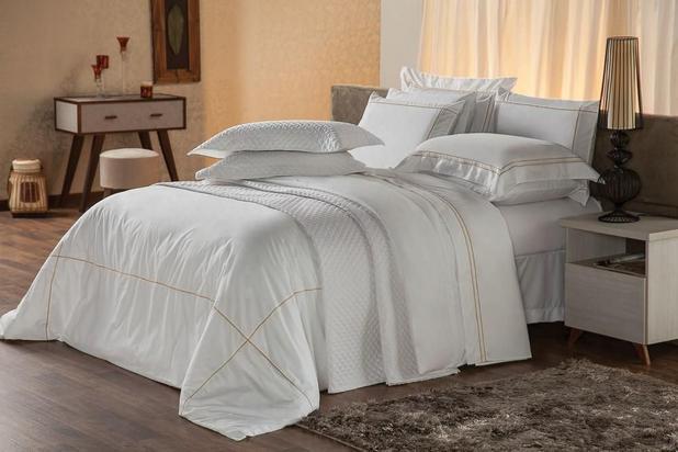 Imagem de Capa para Edredom e Travesseiro Solteiro Duvet Premium Branco e Dourado