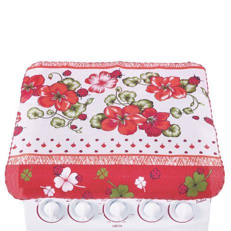 Imagem de Capa para Fogão 4 Bocas Flores Vermelhas 100% Oxford