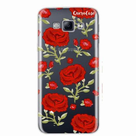 Imagem de Capa para Galaxy A8 Rosas Vermelhas Transparente