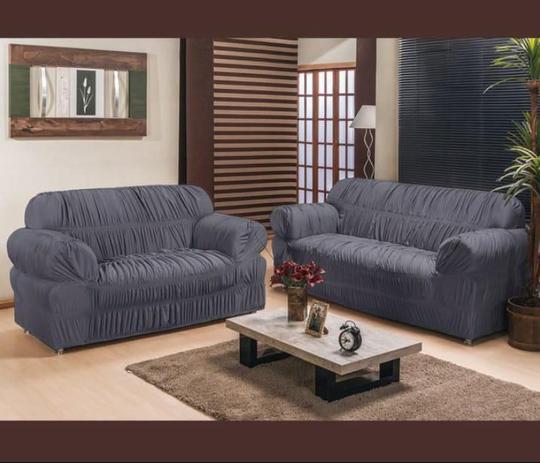 Imagem de Capa para Sofa 2 e 3 Lugares Padrão Elasticada Malha Gel Cinza
