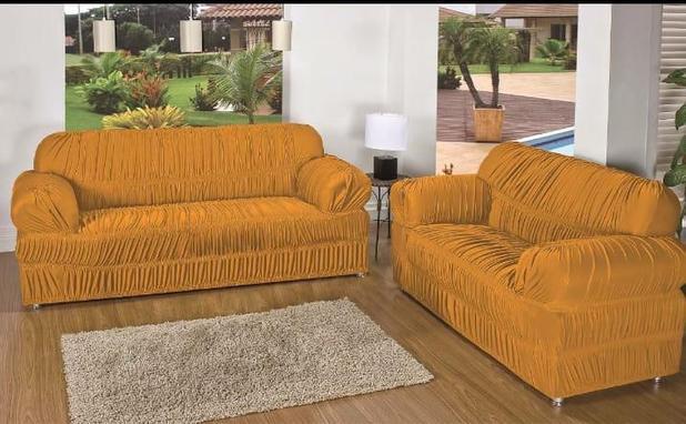 Imagem de Capa para Sofa 2 e 3 Lugares Padrão Elasticada Malha Gel Mostarda