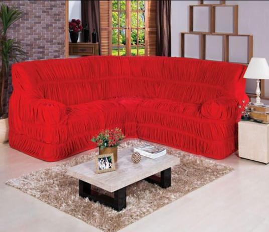 Imagem de Capa para Sofa de Canto Elasticada Até 6 Lugar Malha Gel Vermelho
