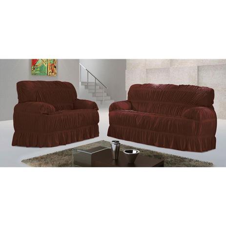 Imagem de Capa para sofá Malha Marrom V 70x200 cm - 3 e 2 lugares