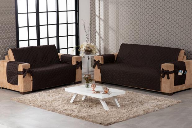 Imagem de capa protetor de sofá 2 e 3 lugares costurado com laço marrom