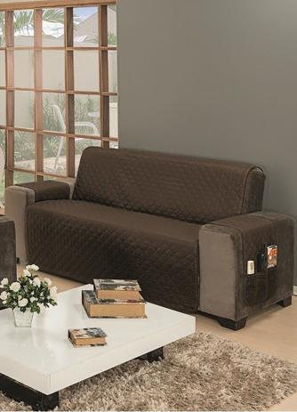 Imagem de Capa Protetor Para Sofa 3 Lugares Impermeável King Gigante Marrom Caqui