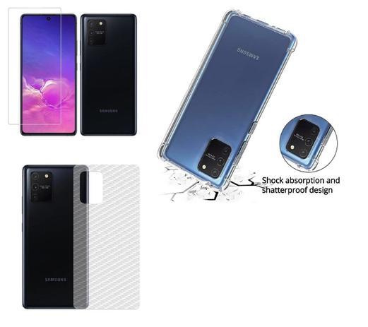 Imagem de Capa Reforçada Samsung Galaxy S10 Lite + Película Vidro 3D 5D + Película Verso Carbono
