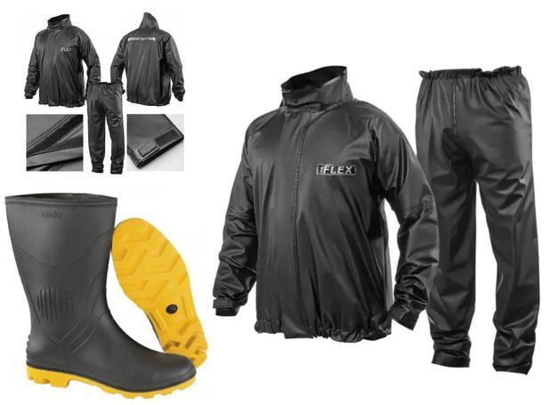 Imagem de Capa Roupa Chuva Vestimenta Vestuário Jaqueta Calça Delta Flex Pvc Preta Moto Motoqueiro + Bota Solado Amarelo Vonder
