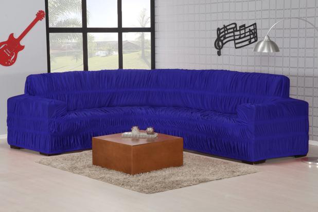Imagem de Capa Sofa de Canto Malha Gel Elasticada Azul