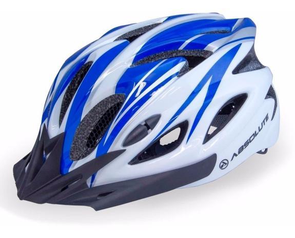 Imagem de Capacete Ciclismo Led Absolute Bike Nero Branco/Azul G