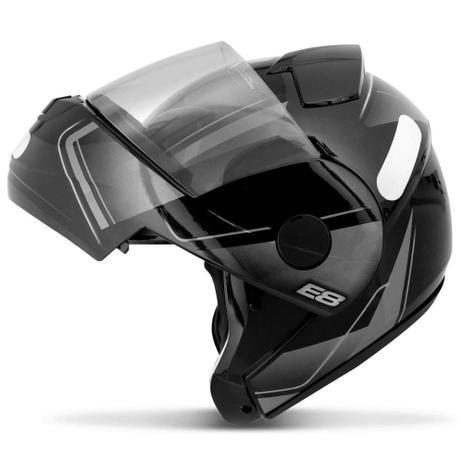 Imagem de Capacete Escamoteável Robocop EBF Novo E8 Drift Preto e Prata Moto - Ebf Capacetes
