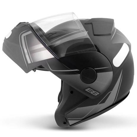 Imagem de Capacete Escamoteável Robocop EBF Novo E8 Drift Preto Fosco e Prata Moto