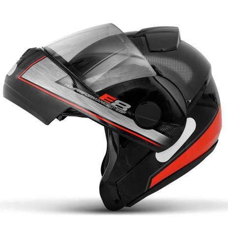 Imagem de Capacete Escamoteável Robocop EBF Novo E8 Performance Preto e Vermelho Moto