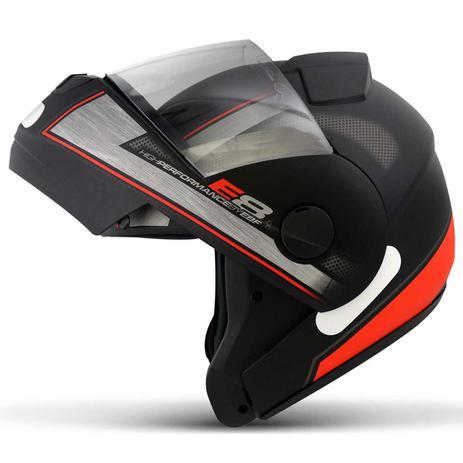 Imagem de Capacete Escamoteável Robocop EBF Novo E8 Performance Preto Fosco e Vermelho