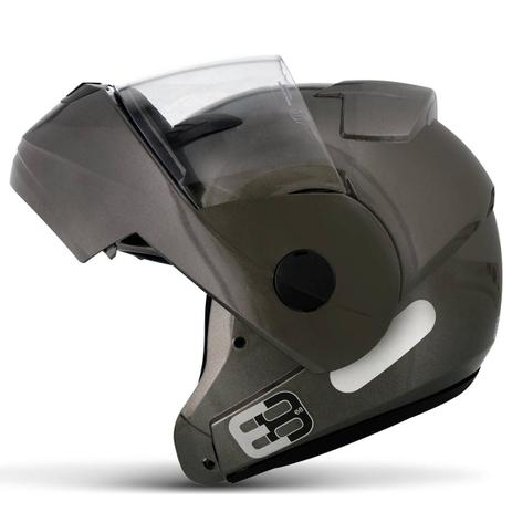 Imagem de Capacete Escamoteável Robocop EBF Novo E8 Solid Chumbo Moto