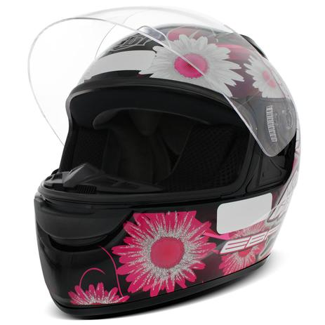 Capacete Fechado EBF E0X Fada Preto Rosa e Branco - Ebf capacetes ... 41f95a7fc0