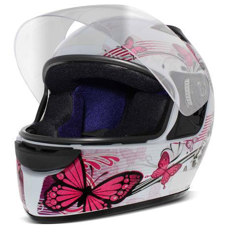 eb8d887b47ee4 Capacete Fechado EBF New Spark Borboletas Branco e Rosa - Ebf capacetes