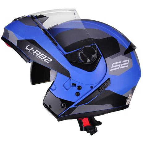 Imagem de Capacete Moto Escamoteável Robocop Peels Urban Sync 2 Azul Fosco
