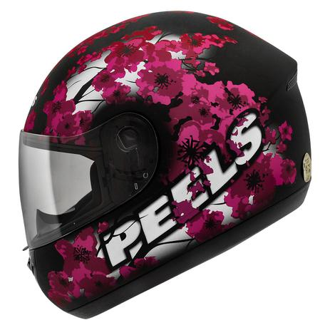 Imagem de Capacete Moto Feminino Peels Spike Blossom Preto Fosco Flor De Cerejeira