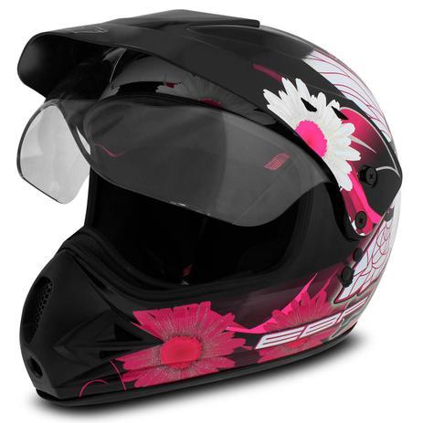 Capacete Motocross EBF Super Motard Fada Preto e Rosa - Ebf capacetes 30e7f1d8a62