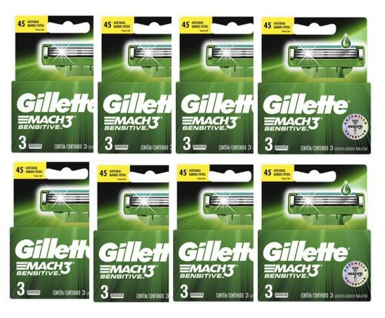 Imagem de Carga Gillette Mach3 Sensitive Com 8x3= 24 Cartuchos