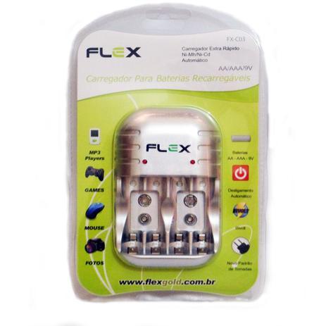 Imagem de Carregador de Pilhas Flex AA ou AAA e Baterias 9v com Led e Deslig Automático Bivolt Inmetro FX-C03