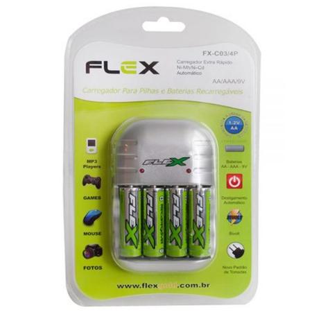 Imagem de Carregador de Pilhas Flex com 4 pilhas AA 2900mAh Recarregáveis Desligamento Automático e Led FX-C03