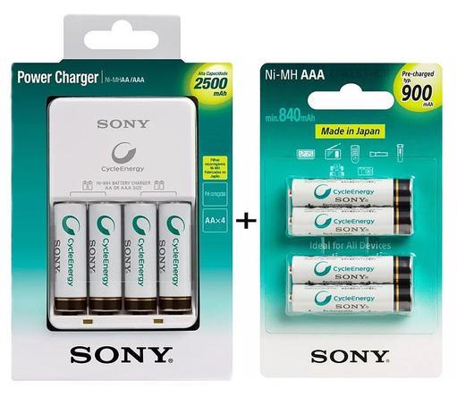Imagem de Carregador de Pilhas Sony com 4 Pilhas Aa 2500mAh Recarregáveis e 4 Pilhas Aaa 900mAh BCG-34HHGN Biv