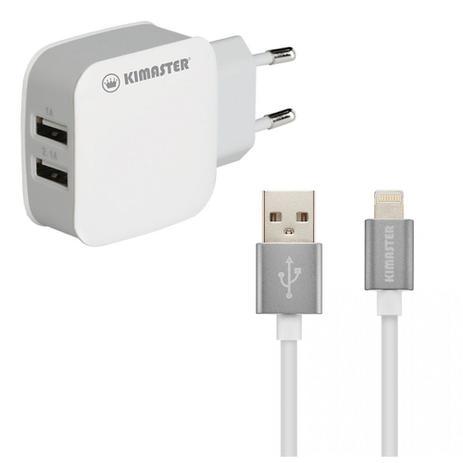 deb2183fc19 Carregador Dual USB Linghtning iPhone 5/6/7/8/X Adaptador Com Cabo -  Kimaster