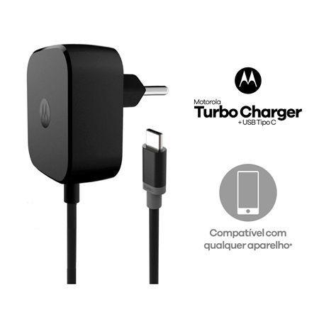 Imagem de Carregador Motorola Moto Z Play Turbo Tipo C Cabo Conjugado Original