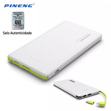 db292be9ce1 Carregador Portatil Celular 10000mah Bateria Externa Pineng Branco ...