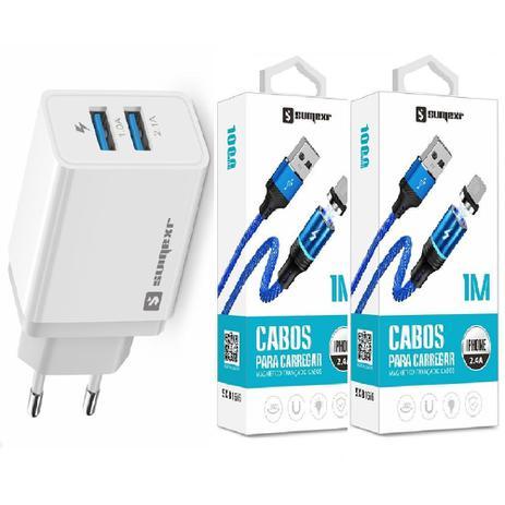 Imagem de Carregador Rápido + 2 Cabo Magnético Sumexr para Celular I Phone I6, i6 Plus 7, X