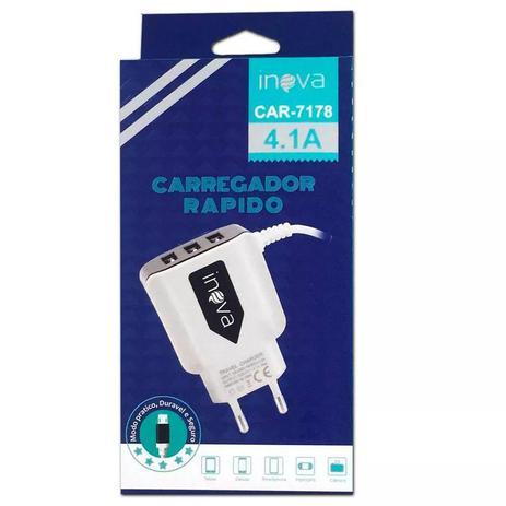 Imagem de Carregador Super Rápido Parede 3 Saídas USB e Cabo V8 Micro Usb