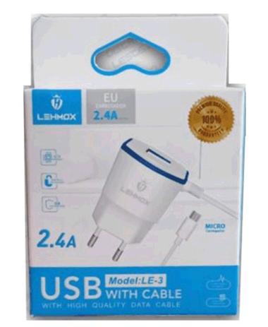 Imagem de Carregador V8 COM SAIDA USB LEHMOX 2.4A
