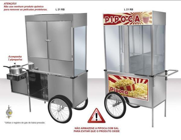 c91b625578 Carrinho Ambulante Pipoca Luxo em Inox com Rodas de Bicicleta L21RB Cefaz
