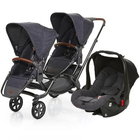 cb19544b0b8 Carrinho de Bebê Para Gêmeos ABC Design Zoom + Bebê Conforto Style Street