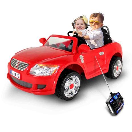 Imagem de Carro Elétrico Carrinho Infantil Conversível Esportivo Vermelho 2 Lugares Controle Remoto 12V