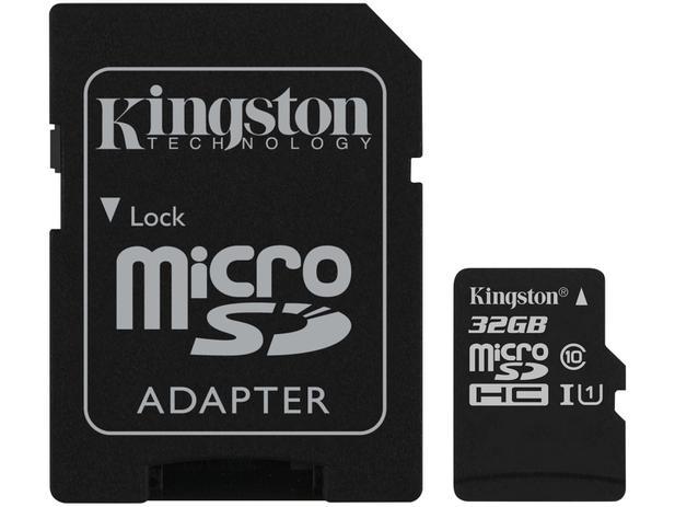 7d73ace19ea Cartão de Memória 32GB Micro SD Kingston Classe 10 - com Adaptador Canvas  Select