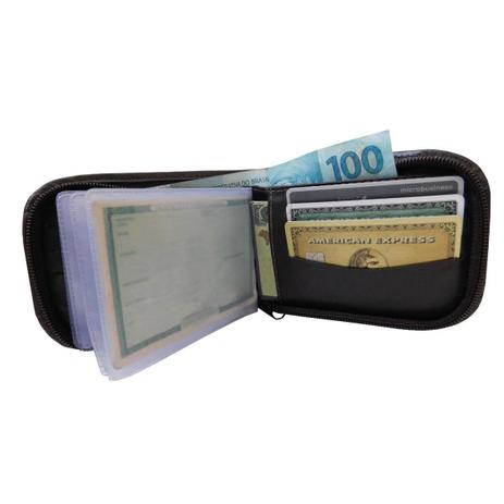 Imagem de Carteira 39 - Masculina de Bolso em Couro Legítimo (286TN39) Fecho de Zíper, Porta Cartão, Documento, RG, CNH, Dinheiro
