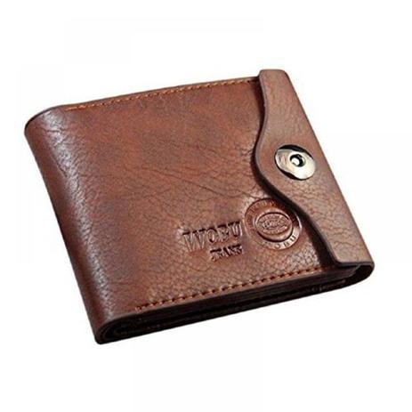 59696d902f3 Carteira Masculina Wobu Jeans Couro c/ Porta-moedas Marrom ...