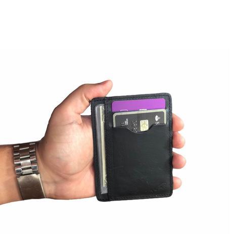 Imagem de Carteira Slim Pouco Volume Preto Porta Cartão Cnh Cédulas Cartões
