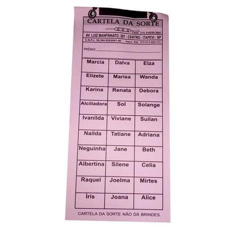 Imagem de Cartela para Rifa com 30 Nomes Cartela da Sorte