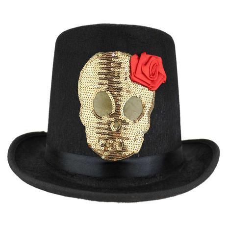 89751ec92f4a5 Cartola Preta Com Caveira Dourada e Rosa Chapéu Adulto Halloween -  Fantasias carol kb