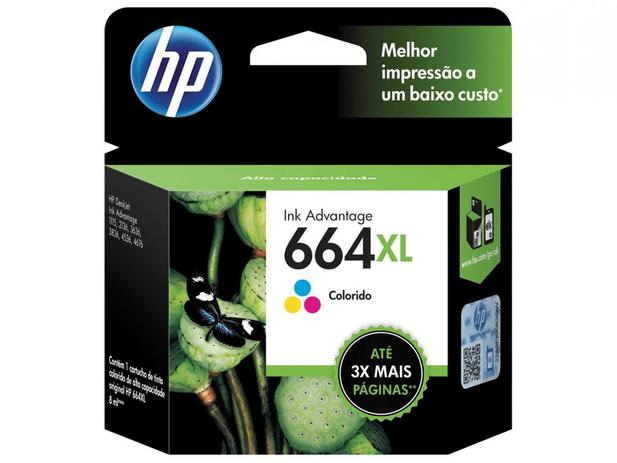 Imagem de Cartucho de Tinta HP Colorido 664 XL Original