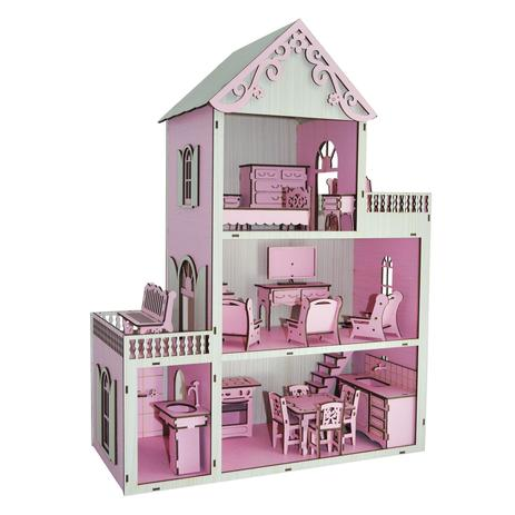 26d14199c Casa Para Boneca Polly Pintada Rosa Bebê e Branco Com 21 Móveis Rosa Mdf  Madeira - Atacadão do artesanato mdf