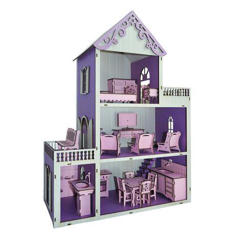 a9a2e247a Casa Para Boneca Polly Pintada Violeta e Branco Com 21 Móveis Rosa Mdf  Madeira - Atacadão do artesanato mdf