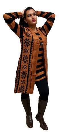 13ec7d2ec34 Casaco Lã Comprido Com Vestido curto Moda Boho Tendência - Palak fashion