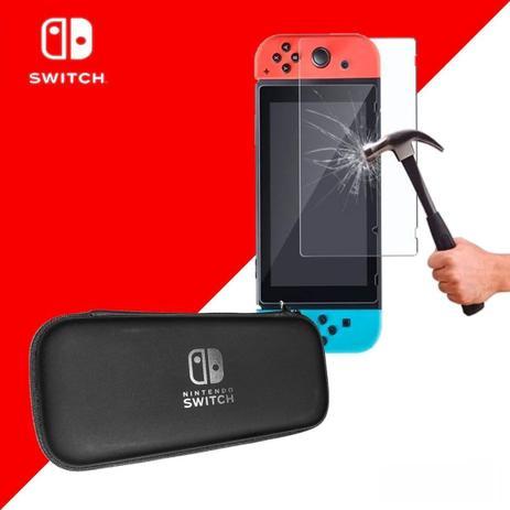 Imagem de Case Capa Estojo Proteção Nintendo Switch Preto e Pelicula Vidro Temperado
