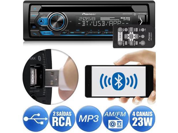 Imagem de CD Player Pioneer DEH-S4180BT Bluetooth USB Android Iphone Auxiliar Mixtrax 2 Saídas RCA 1DIN