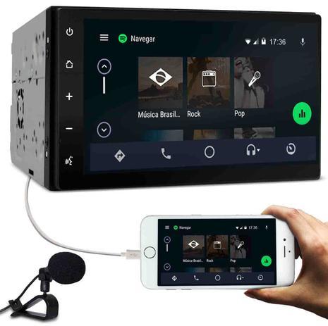 "Central Multimídia Caska 2 Din Tela 7"" Touch iOs CarPlay e Android Auto  Bluetooth Espelhamento USB - Caskabrasil"
